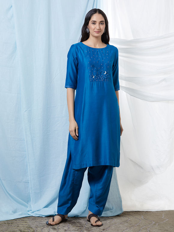 Blue Hand Embroidered Cotton Silk Kurta with Salwar - Set of 2