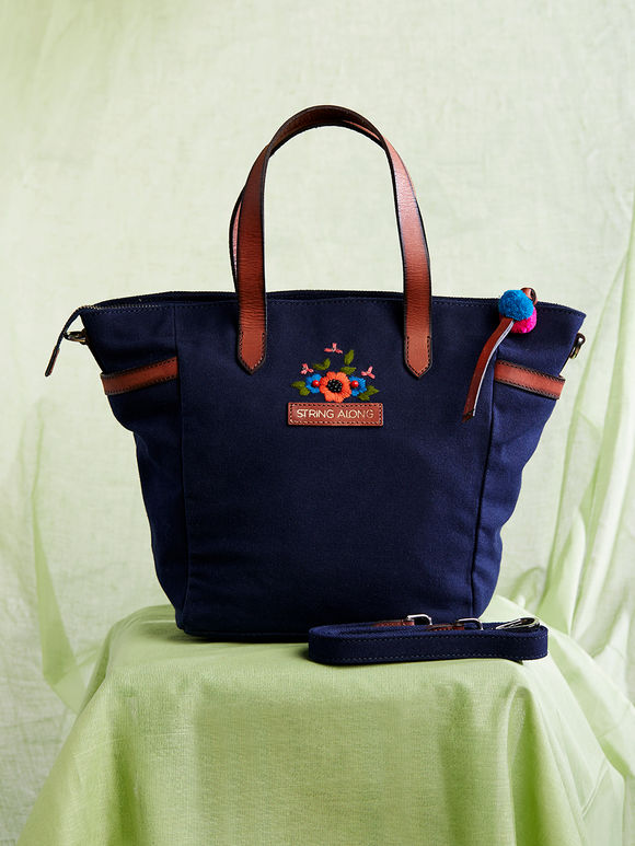 Navy Blue Hand Embroidered Canvas Tote Bag