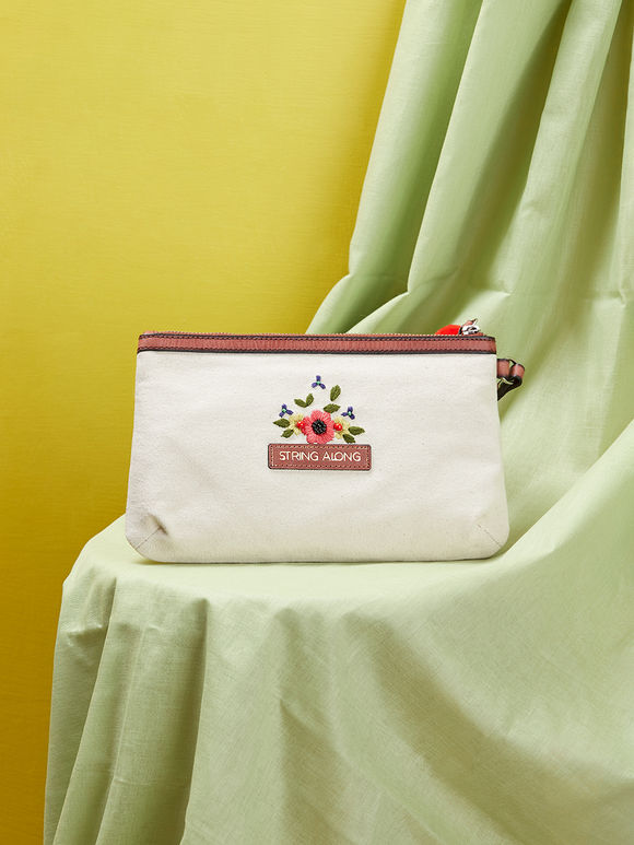 Off White Hand Embroidered Canvas Sling Bag