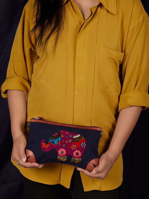 Navy Blue Hand Embroidered Elephant Canvas Clutch