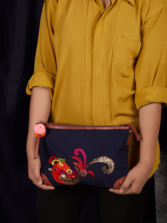 Navy Blue Hand Embroidered Canvas Clutch