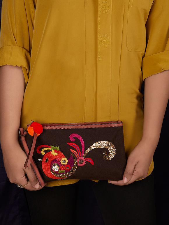 Brown Hand Embroidered Canvas Clutch