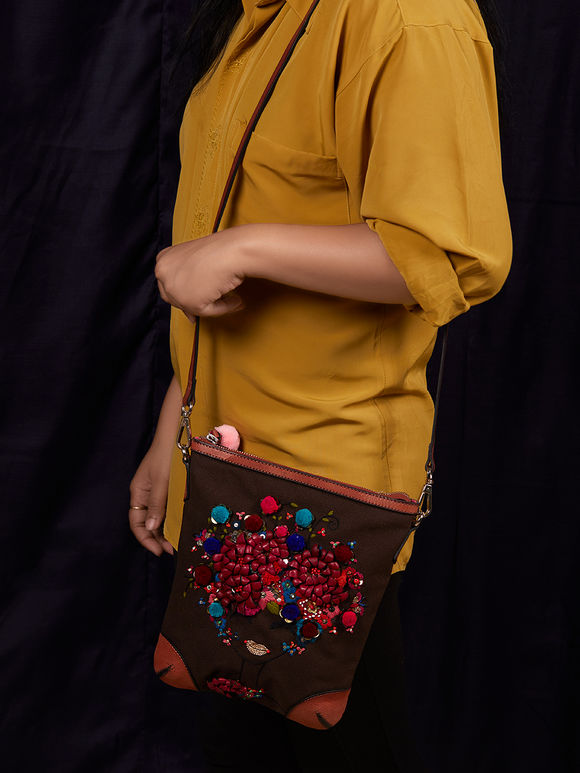 Brown Hand Embroidered Canvas Sling Bag