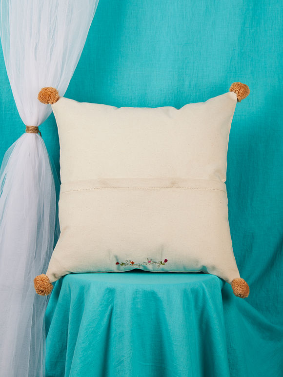 Off White Hand Embroidered Canvas Elephant Cushion Cover