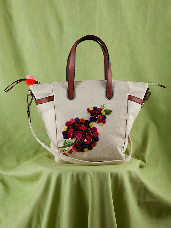 Off White Hand Embroidered Canvas Tote Bag