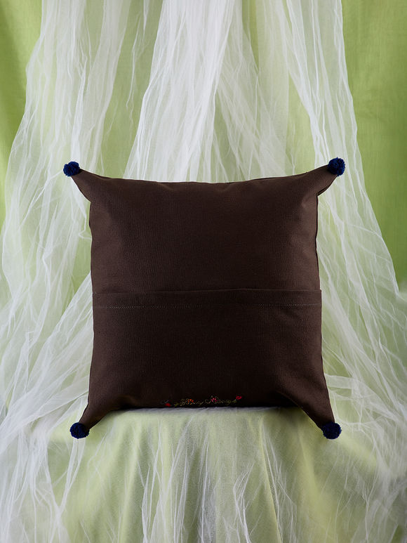 Brown Hand Embroidered Canvas Cushion Cover
