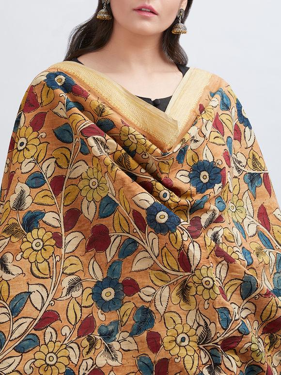 Multicolor Floral Handpainted Mangalgiri Cotton Dupatta