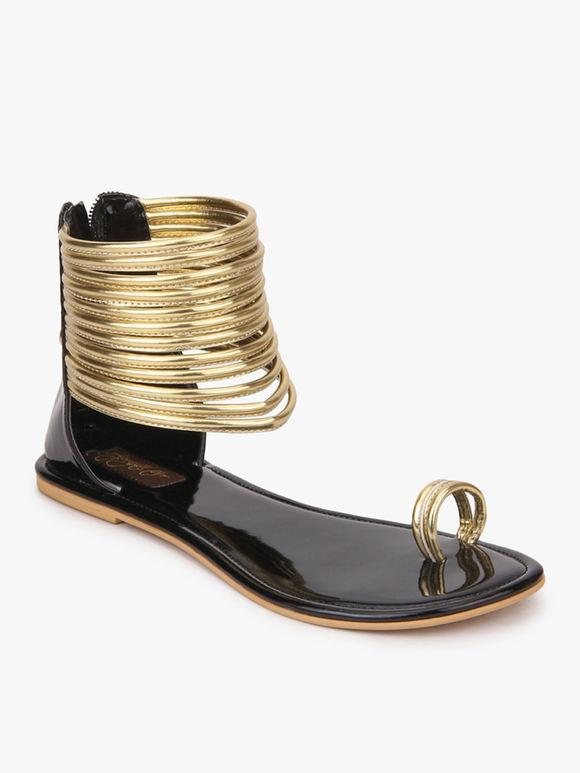Golden Black Handcrafted Leatherette Kaya Gladiator