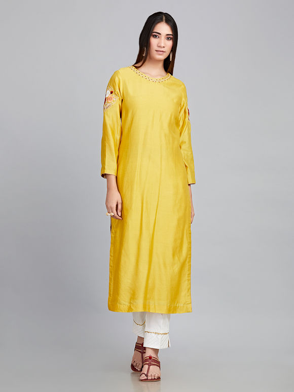 Yellow Embroidered Chanderi Silk Kurta with Off White Cotton Satin Pants and Blue Georgette Dupatta - Set of 3