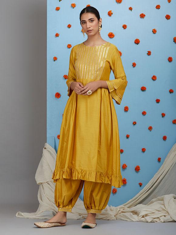Mustard Yellow Cotton Silk Pleated Kurta with Pants and Off White Dupatta- Set of 3