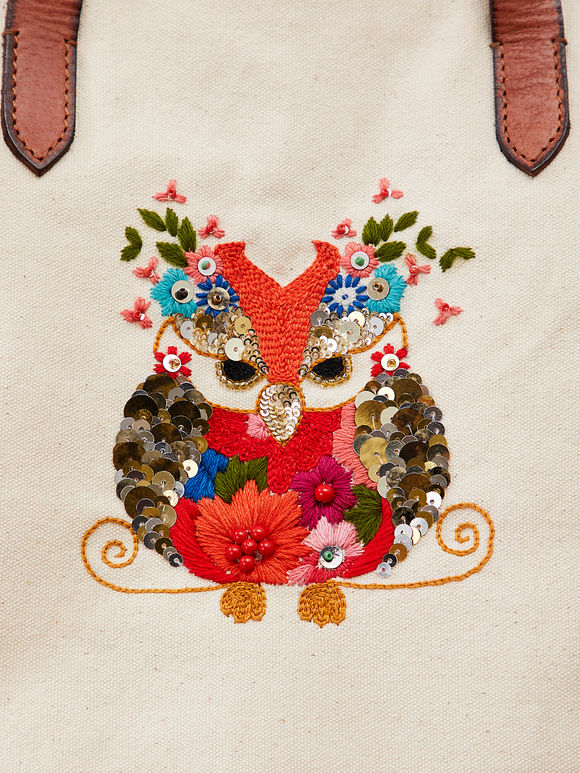 Off White Hand Embroidered Owl Canvas Sling Bag
