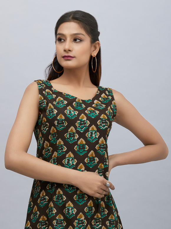 Brown Green Printed Cotton Dress