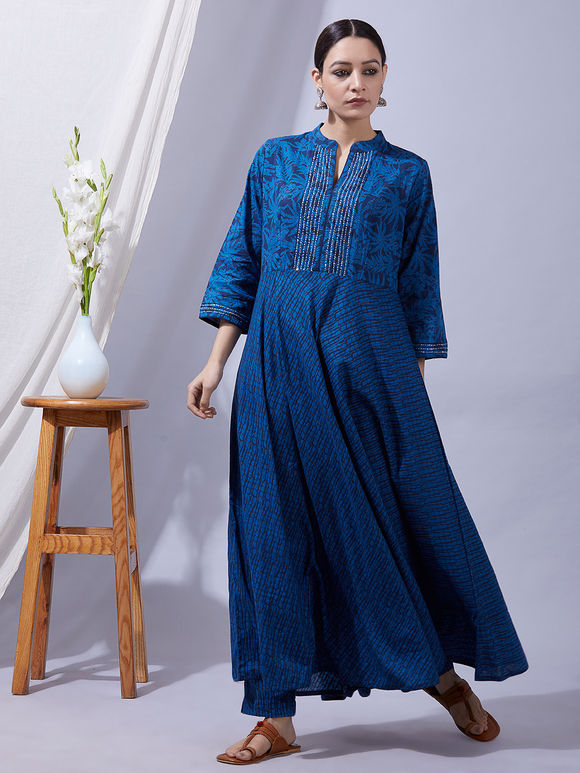 Blue Hand Block Printed Sequins Embroidered Cotton Kurta with Pants and Dupatta - Set of 3