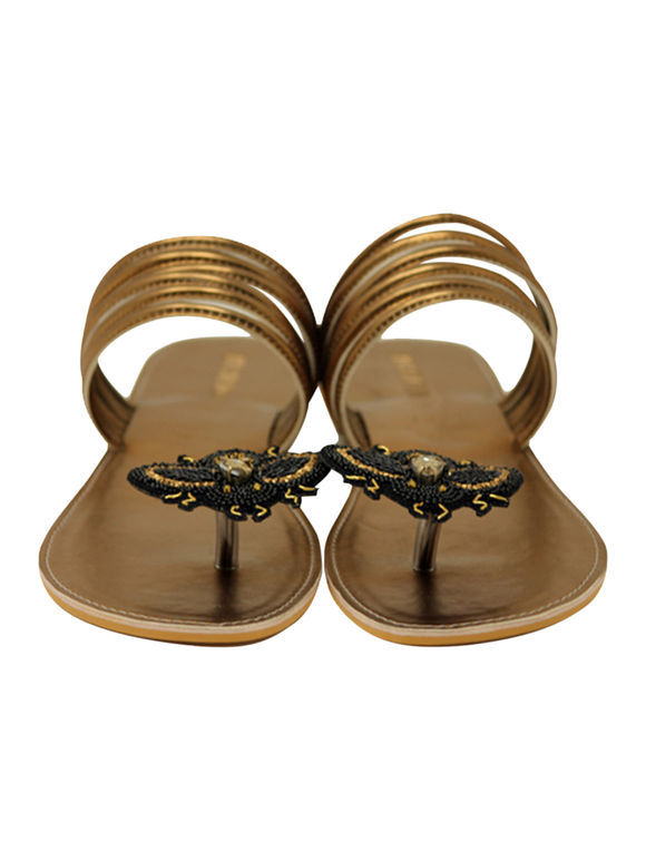 Copper Black Handcrafted Leatherette Flats
