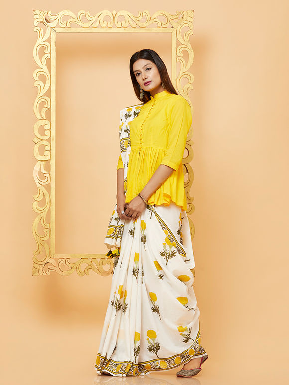 White Yellow Mogra Hand Block Printed Mulmul Saree