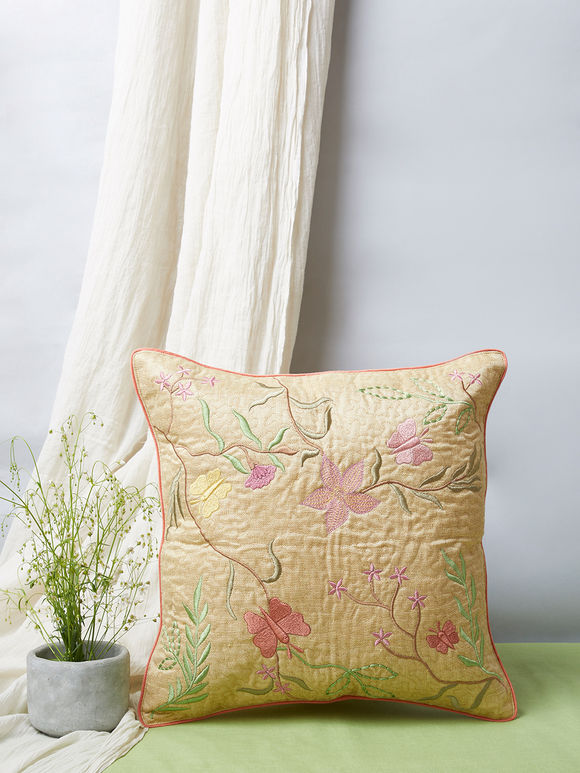 Beige Embroidered Khadi Silk Cushion Cover