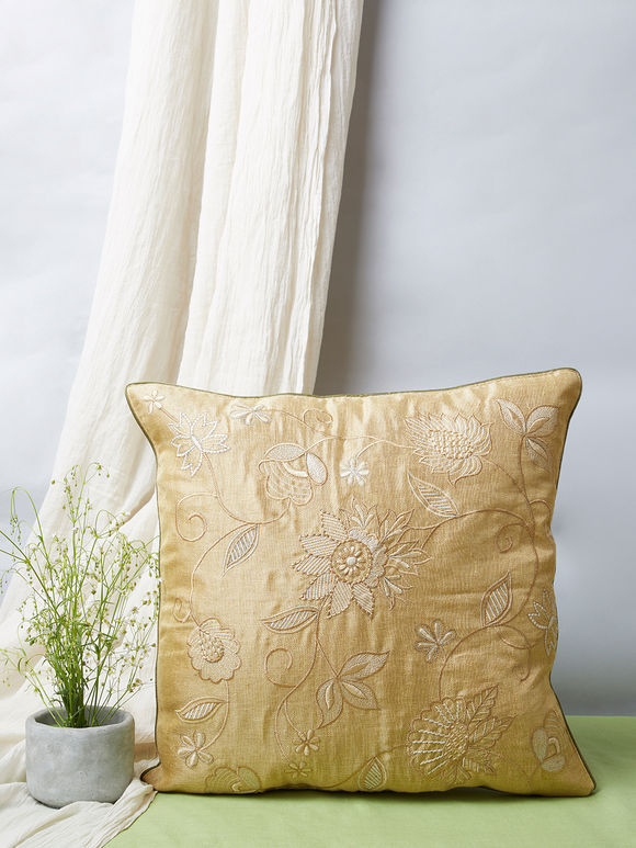 Cream Embroidered Khadi Silk Cushion Cover