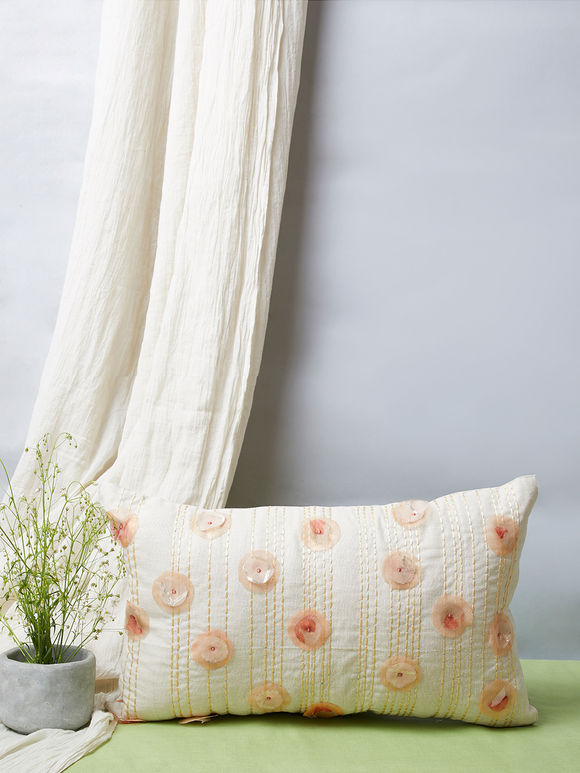 White Peach Embroidered Cotton Pillow Cover