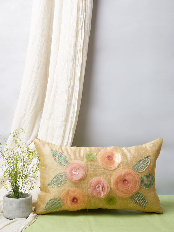 Beige Floral Embroidered Silk Pillow Cover