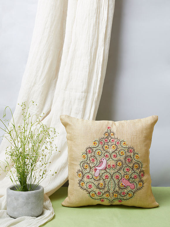 Beige Mughal Embroidered Silk Cushion Cover