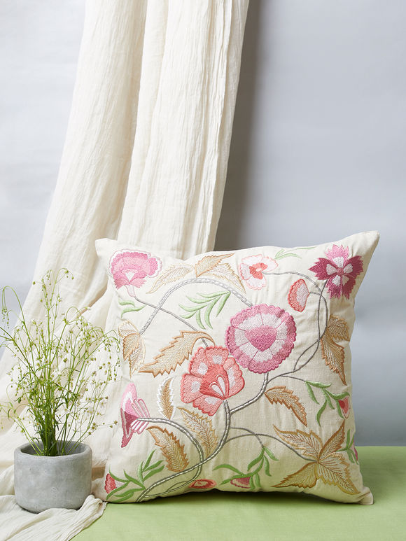 Multicolor Floral Embroidered Khadi Cotton Cushion Cover
