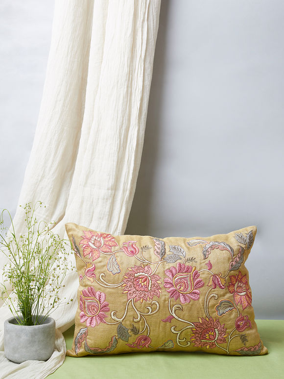 Beige Mughal Embroidered Silk Pillow Cover