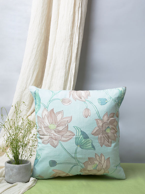Multicolor Hand Painted Cotton Linen Cushion Cover