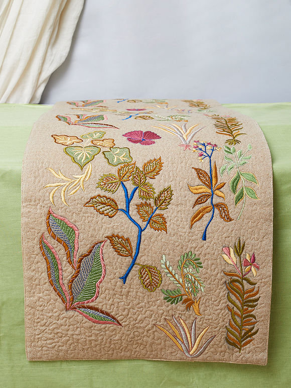Multicolor Embroidered Silk Table Runner