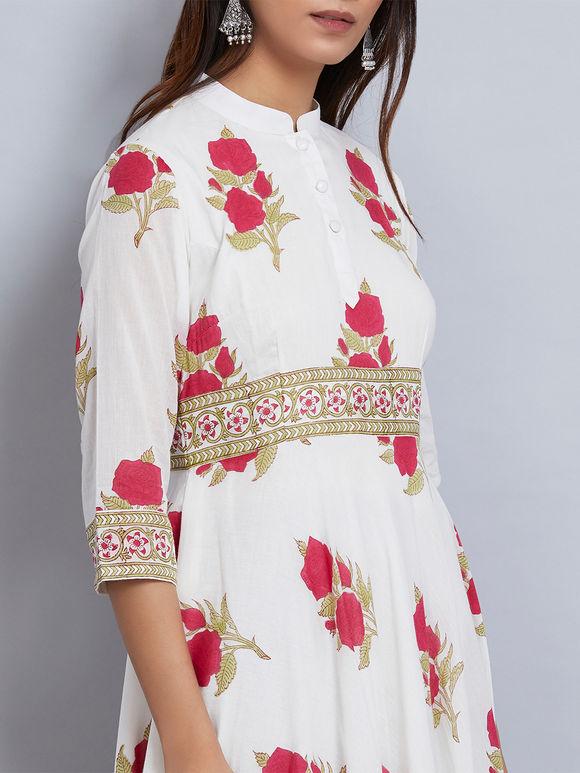 Pink White Rose Block Printed Mulmul Anarkali