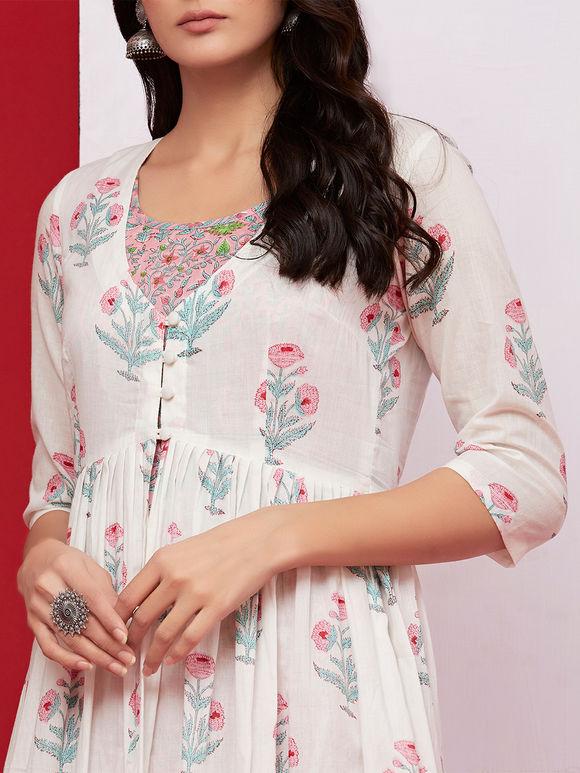 Off White Pink Hand Block Printed Mulmul Jacket