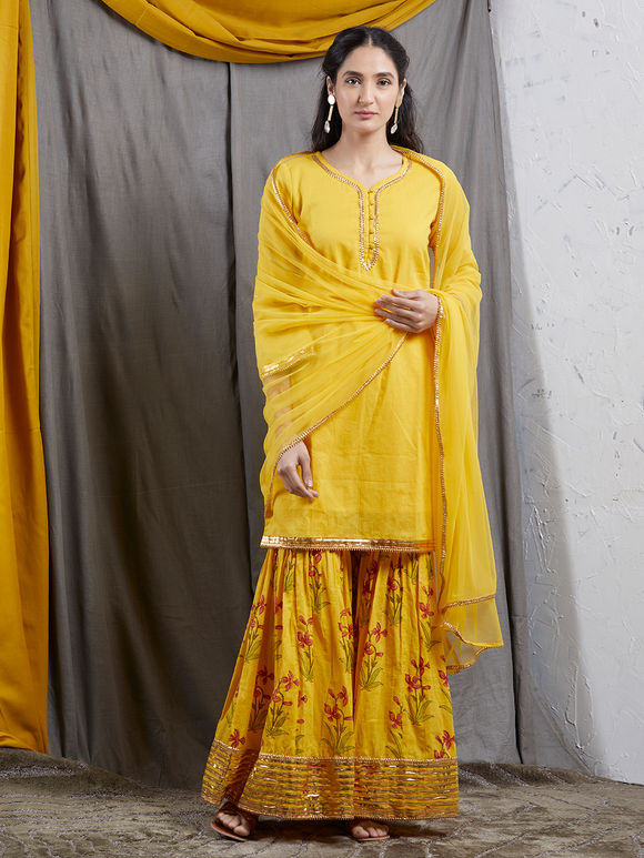 Yellow Mulmul Kurta with Hand Block Printed Sharara and Net Dupatta- Set of 3