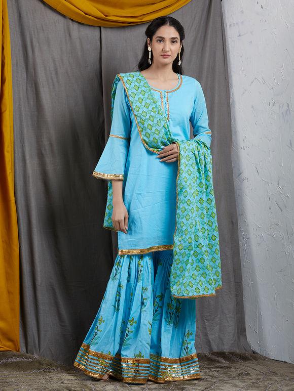 Green Blue Hand Block Printed Mulmul Dupatta