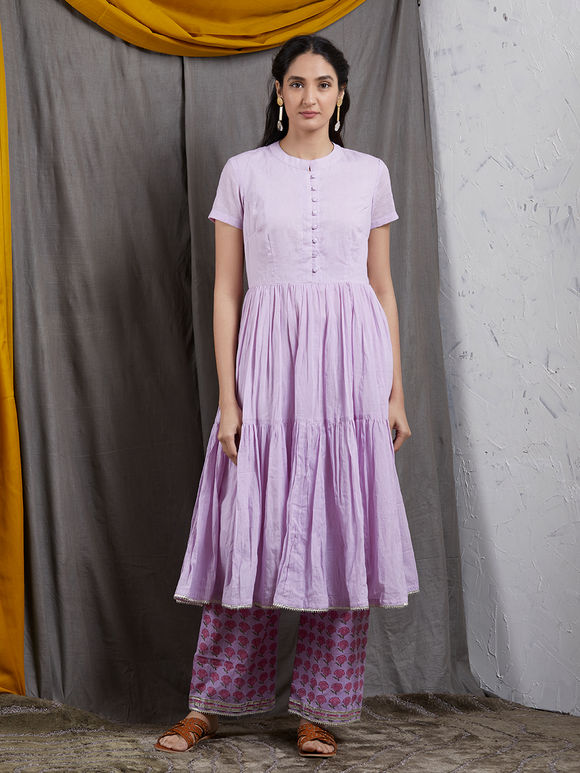 Lavender Gathered Mulmul Kurta