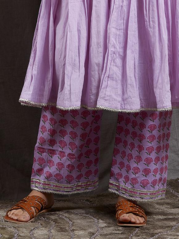 Lavender Hand Block Printed Mulmul Pants