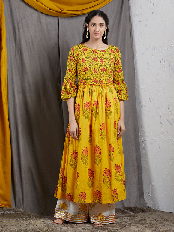 Yellow Hand Block Printed Mulmul Kurta with Off White Palazzo- Set of 2