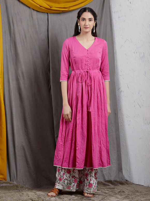Pink Gathered Mulmul Kurta