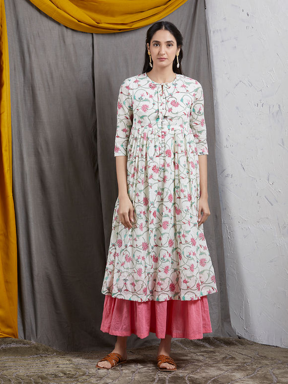 Ivory Pink Hand Block Printed Mulmul Double Layered Dress