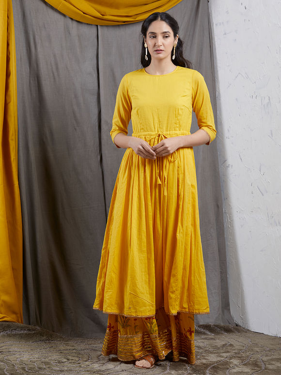 e228373b78 Yellow Mulmul Gathered Kurta with Hand Block Printed Sharara and Net  Dupatta- Set of 3