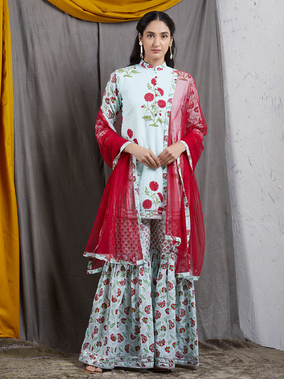Red Net Dupatta