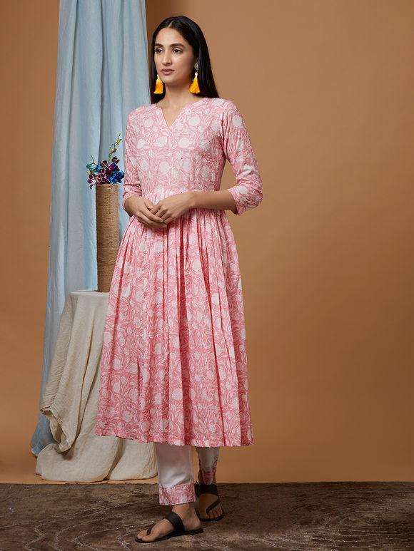 01e94ce01b Pink Hand Block Printed Mulmul Gathered Kurta