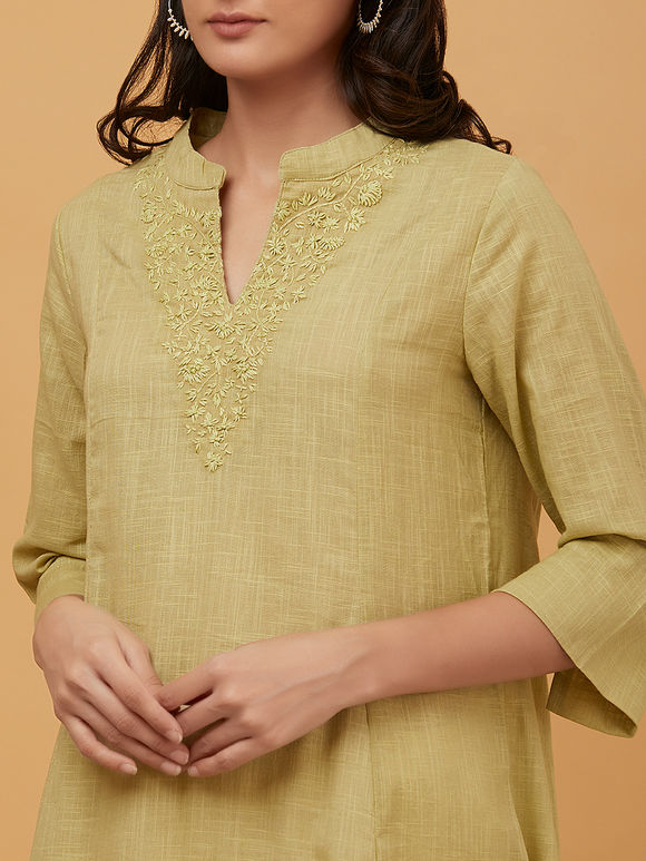 Pista Green Hand Embroidered Cotton Kurta with Off White Palazzo- Set of 2