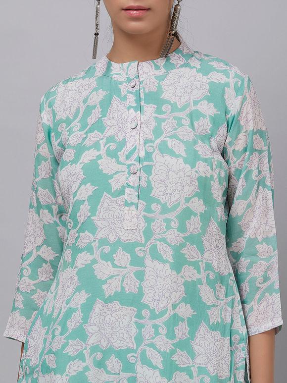 Sea Green Hand Block Printed Cotton Kurta