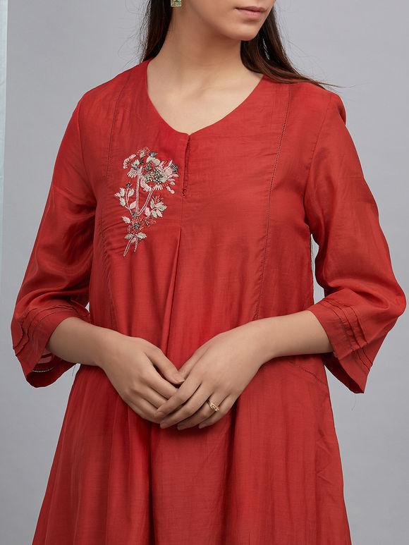 Red Hand Embroidered Cotton Silk Kurta