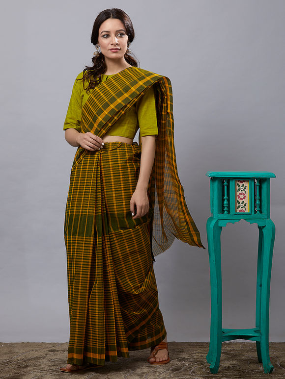 Green Checkered Cotton Saree