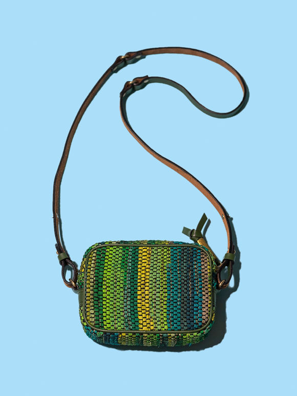 Green Handwoven Fabric Boxy Sling Bag