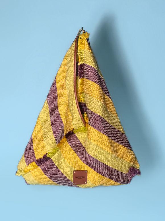 Yellow Violet Handwoven Fabric Jhola Bag