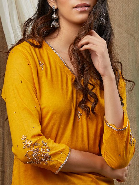 Yellow Hand Embroidered Cotton Kurta