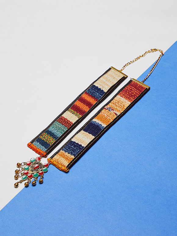 Multicolor Handcrafted Kilim Faux Leather Metal Necklace