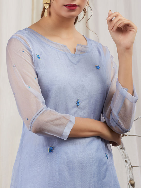 Blue Organza Hand Embroidered Kurta with Modal Silk Lining and Pants - Set of 3