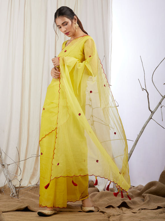 Yellow Organza Hand Embroidered Saree with Modal Silk Blouse Material